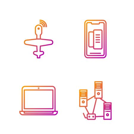 Set line Computer network, Laptop, UAV Drone and Smartphone, mobile phone. Gradient color icons. Vector