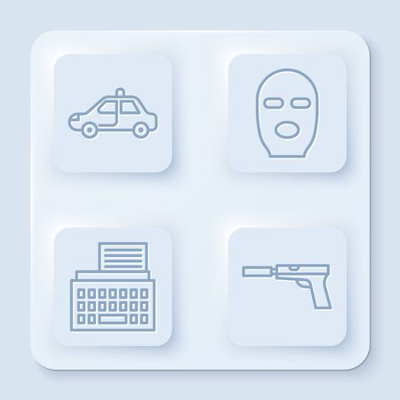 Set line Police car and flasher, Thief mask, Retro typewriter and Pistol or gun with silencer. White square button. Vector