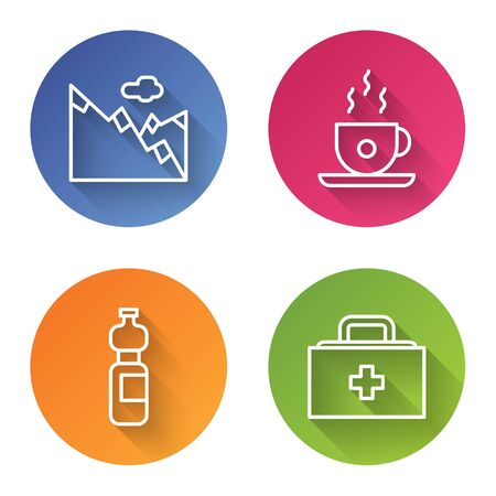 Set line Mountains, Coffee cup, Bottle of water and First aid kit. Color circle button. Vector Illustration
