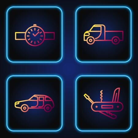 Set line Swiss army knife, Car, Wrist watch and Pickup truck. Gradient color icons. Vector Vectores