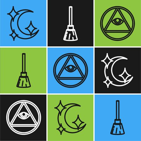 Set line Moon and stars, Masons and Witches broom icon. Vector  イラスト・ベクター素材