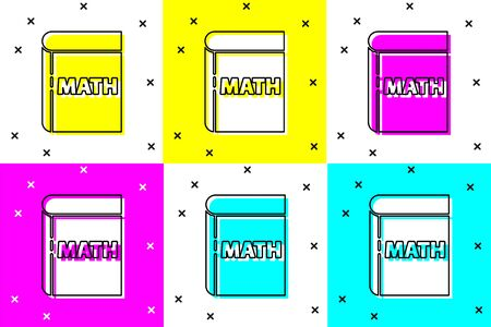 Set Book with word mathematics icon isolated on color background. Math book. Education concept about back to school. Vector Illustration