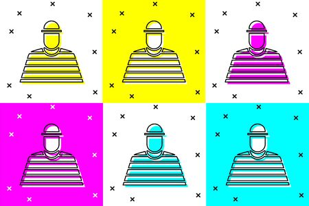 Set Prisoner icon isolated on color background.  Vector Illustration