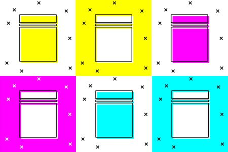 Set Plastic bag icon isolated on color background.  Vector Illustration 向量圖像