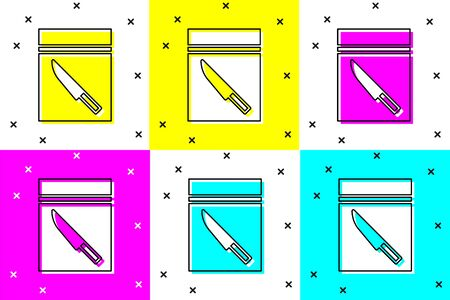 Set Evidence bag and knife icon isolated on color background. Vector Illustration