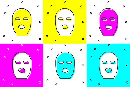 Set Thief mask icon isolated on color background. Bandit mask, criminal man.  Vector Illustration