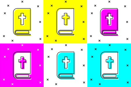 Set Holy bible book icon isolated on color background. Vector Illustration
