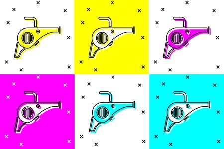 Set Leaf garden blower icon isolated on color background. Vector Illustration