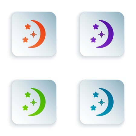 Color Moon and stars icon isolated on white background. Set colorful icons in square buttons. Vector Illustration