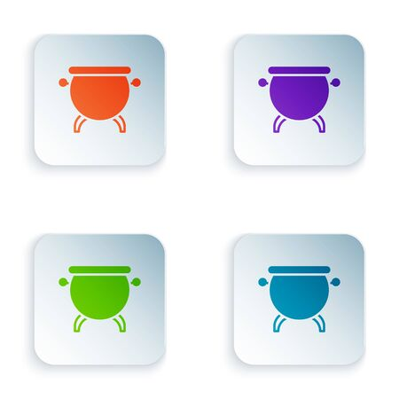 Color Witch cauldron icon isolated on white background. Happy Halloween party. Set colorful icons in square buttons. Vector Illustration