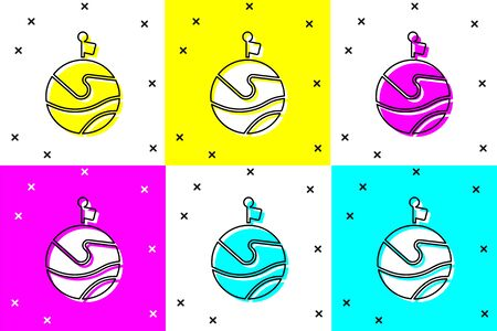 Set Moon with flag icon isolated on color background. Vector Illustration