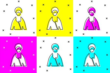 Set Jesus Christ icon isolated on color background. Vector Illustration