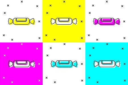 Set Candy icon isolated on color background. Vector Illustration Ilustracja