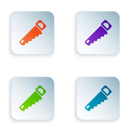 Color Hand saw icon isolated on white background. Set colorful icons in square buttons. Vector Illustration