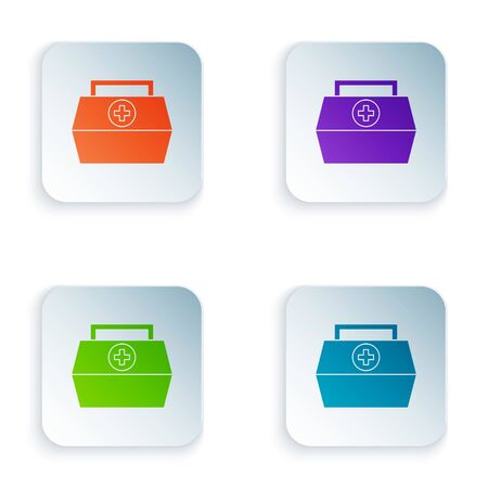 Color First aid kit icon isolated on white background. Medical box with cross. Medical equipment for emergency. Healthcare concept. Set colorful icons in square buttons. Vector Illustration