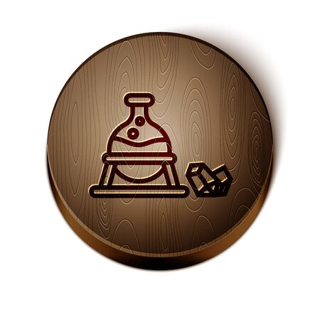 Brown line Witch cauldron and magic stone icon isolated on white background. Wooden circle button. Vector Illustration