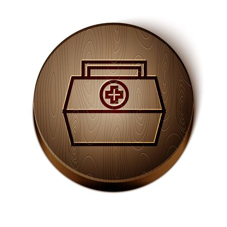 Brown line First aid kit icon isolated on white background. Medical box with cross. Medical equipment for emergency. Healthcare concept. Wooden circle button. Vector Illustration
