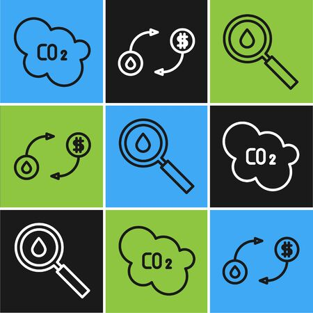 Set line CO2 emissions in cloud, Oil drop and Oil exchange icon. Vector