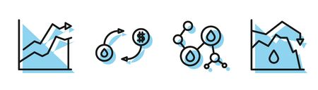Set line Molecule oil, Oil price increase, Oil exchange and Drop in crude oil price icon. Vector