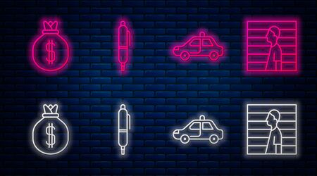 Set line Pen, Police car and flasher, Money bag and Suspect criminal. Glowing neon icon on brick wall. Vector Иллюстрация