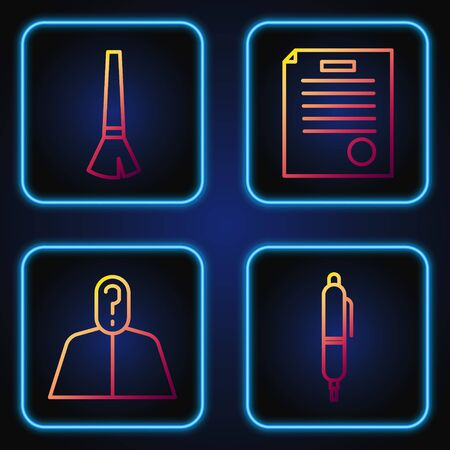 Set line Pen, Anonymous with question mark, Paint brush and The arrest warrant. Gradient color icons. Vector Illustration