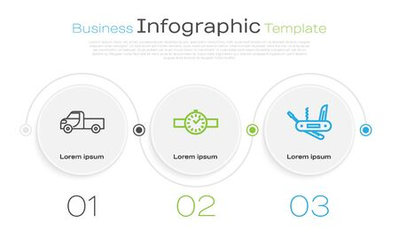 Set line Pickup truck, Wrist watch and Swiss army knife. Business infographic template. Vector Vectores