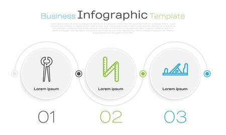 Set line Pincers and pliers, Folding ruler and Wood plane tool. Business infographic template. Vector