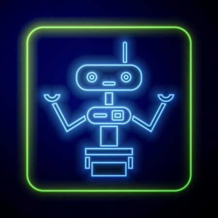 Glowing neon Robot icon isolated on blue background.  Vector Illustration