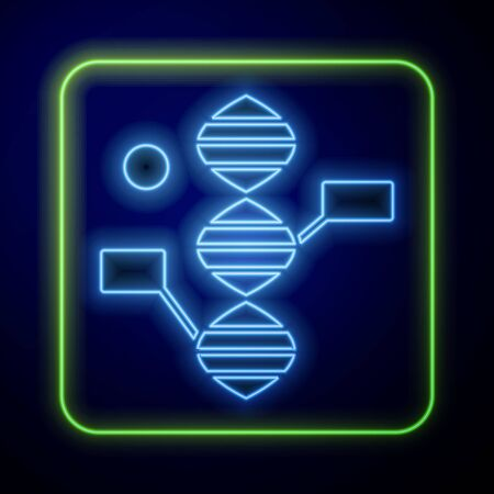 Glowing neon DNA symbol icon isolated on blue background. Vector Illustration