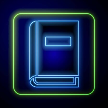 Glowing neon User manual icon isolated on blue background. User guide book. Instruction sign. Read before use.  Vector Illustration