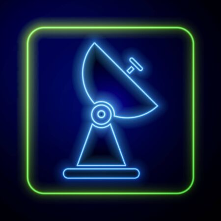 Glowing neon Radar icon isolated on blue background. Search system. Satellite sign.  Vector Illustration Ilustração