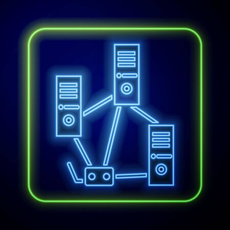 Glowing neon Computer network icon isolated on blue background. Laptop network. Internet connection.  Vector Illustration