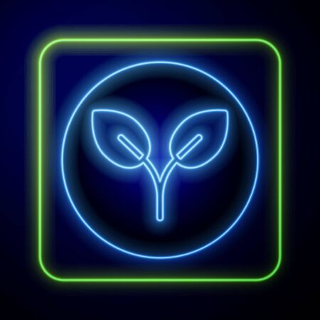 Glowing neon Bio fuel icon isolated on blue background. Eco bio. Green environment and recycle. Vector Illustration