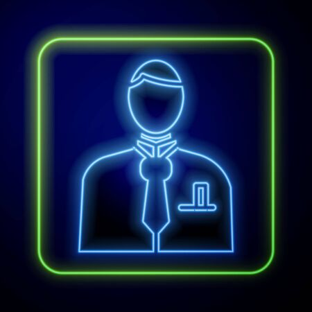 Glowing neon Businessman or stock market trader icon isolated on blue background. Vector Illustration