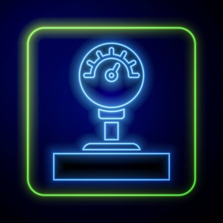 Glowing neon Gauge scale icon isolated on blue background. Satisfaction, temperature, manometer, risk, rating, performance, speed tachometer.  Vector Illustration