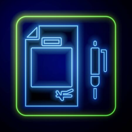 Glowing neon Contract money and pen icon isolated on blue background. Banking document dollar file finance money page.  Vector Illustration