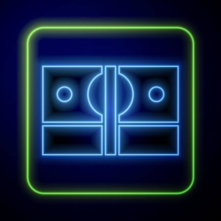 Glowing neon Stacks paper money cash icon isolated on blue background. Money banknotes stacks. Bill currency. Vector Illustration