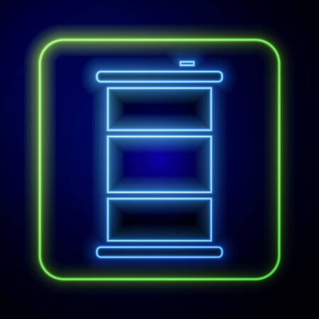 Glowing neon Barrel oil icon isolated on blue background. Vector Illustration