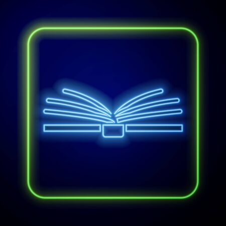 Glowing neon Open book icon isolated on blue background. Vector Illustration