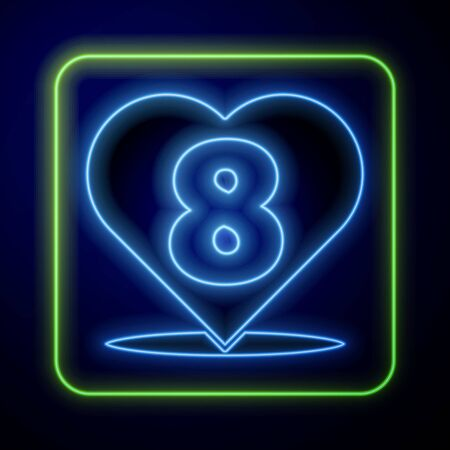 Glowing neon Heart with 8 March icon isolated on blue background. Romantic symbol linked, join, passion and wedding. Happy Women Day. Vector Illustration Çizim