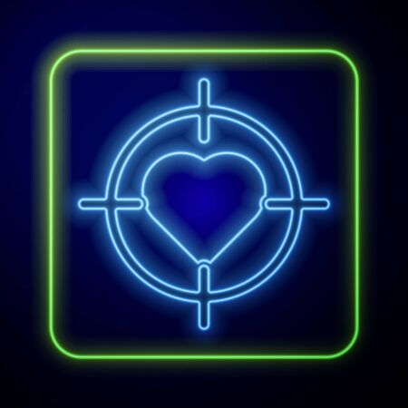 Glowing neon Heart in the center of darts target aim icon isolated on blue background. International Happy Women Day. Vector Illustration