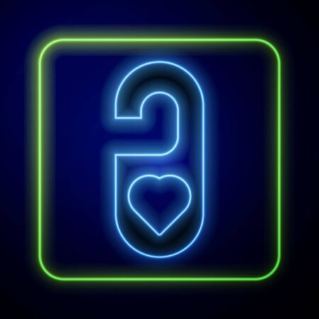Glowing neon Please do not disturb with heart icon isolated on blue background. 8 March. International Happy Women Day. Vector Illustration Çizim