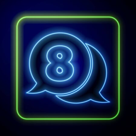 Glowing neon 8 March in speech bubble icon isolated on blue background. International Happy Women Day. Vector Illustration Çizim