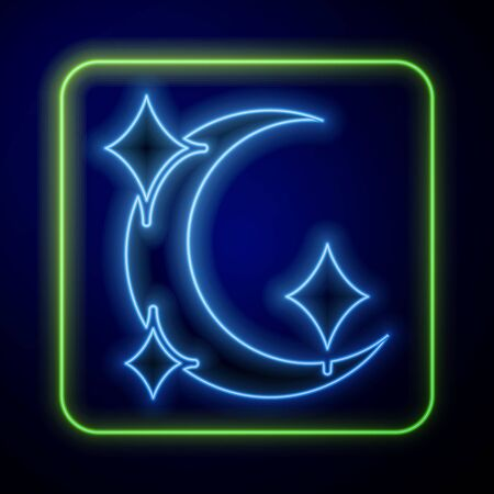 Glowing neon Moon and stars icon isolated on blue background. Vector Illustration