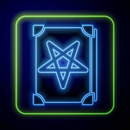 Glowing neon Ancient magic book with alchemy recipes and mystic spells and enchantments icon isolated on blue background. Vector Illustration Иллюстрация