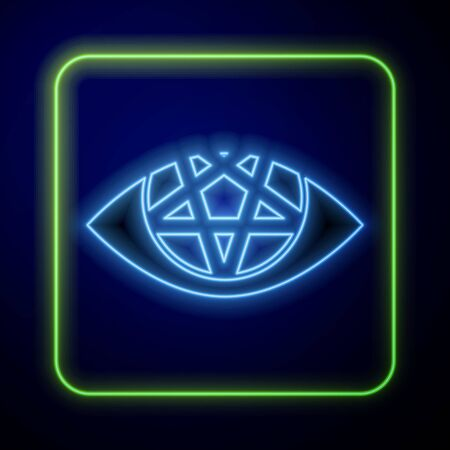 Glowing neon Pentagram icon isolated on blue background. Magic occult star symbol. Vector Illustration