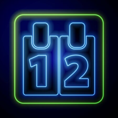 Glowing neon Calendar icon isolated on blue background. Event reminder symbol. Vector Illustration Иллюстрация