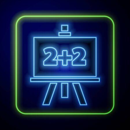 Glowing neon Chalkboard icon isolated on blue background. School Blackboard sign. Vector Illustration