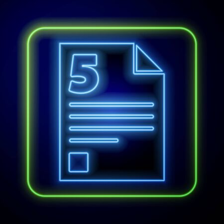 Glowing neon Test or exam sheet icon isolated on blue background. Test paper, exam or survey concept. Vector Illustration