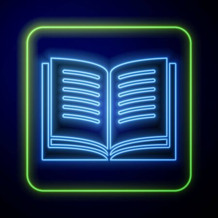 Glowing neon Open book icon isolated on blue background.  Vector Illustration Иллюстрация